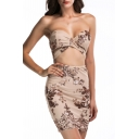 New Arrival Sexy Bandeau Hollow Out Waist Sequined Embellished Mini Bodycon Dress