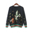 Round Neck Long Sleeve Bird Bee Embroidered Casual Loose Pullover Sweater