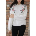 Fashion Floral Embroidered Mock Neck Long Sleeve Casual Pullover Sweater