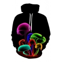 Fashion Digital Colorful Mushroom Pattern Long Sleeve Casual Sports Hoodie
