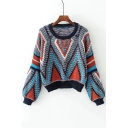 New Arrival Fashion Color Block Long Sleeve Round Neck Pullover Sweater