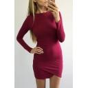 Basic Simple Plain Round Neck Long Sleeve Mini Bodycon Dress