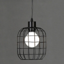 Industrial Wrought Iron  Hanging Pendant Light with Square Metal Cage Frame in Black