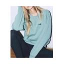 Chic Bear Embroidered Basic Simple Round Neck Long Sleeve Sweatshirt