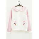 Lovely Cartoon Pattern Fashion Color Block Peter-Pan Collar Buttons Down Baseball Jacket