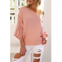 New Arrival Fashion Sexy One Shoulder Long Sleeve Simple Plain Sweater