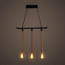 Industrial Multi Light Pendant Light in Open Bulb Style with Rope and Wrought Iron Fixture