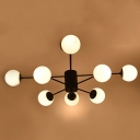 Industrial Vintage Chandelier Radial Arm with Gorgeous Globle Opal Glass Shade