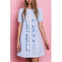 Fashion Ruffle Hem Round Neck Short Sleeve Casual Mini Plain Swing Dress