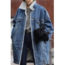 Winter's New Fashion Lapel Collar Long Sleeve Buttons Down Warm Wool Denim Coat