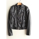 New Trendy Fashion Zip Embellished Lapel Collar Zip Up PU Biker Jacket