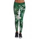 New Arrival Digital Christmas Snowflake Pattern Skinny Sports Leggings