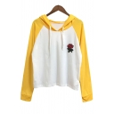 Fashion Floral Embroidered Color Block Loose Leisure Hoodie
