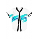 Splash-Ink Color Block V Neck Short Sleeve Buttons Down Shirt