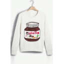 Fashion Cartoon Nutella Pattern Long Sleeve Round Neck Casual Sweatshirt