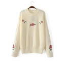 Chic Floral Embroidered Long Sleeve Round Neck Casual Pullover Sweater