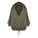 Basic Simple Plain Loose Leisure Hooded Long Sleeve Zip Up Casual Coat