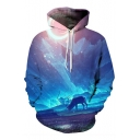 New Fashion Digital Animal Print Landscape Pattern Oversize Loose Hoodie