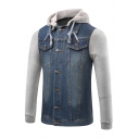 New Trendy Fashion Color Block Denim Patched Long Sleeve Hooded Buttons Down Coat