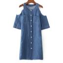 Fashion Cold Shoulder Short Sleeve Plain Buttons Down Shift Midi Denim Dress