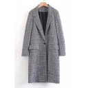 Notched Lapel Collar Long Sleeve Classic Plaids Print Long Blazer Coat with Single Button