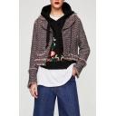 Notched Lapel Collar Long Sleeve Basic Zip Up Woolen Coat