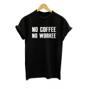 Basic Simple Letter Pattern Short Sleeve Round Neck Pullover T-Shirt