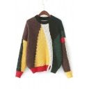 Round Neck Long Sleeve Fashion Color Block Pullover Cable Knit Sweater