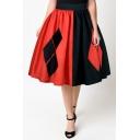 New Arrival Chic Color Block Elastic Waist Midi Flared Skirt