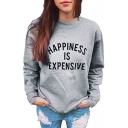 Color Block Letter Print Round Neck Long Sleeve Pullover Sweatshirt