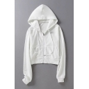 New Fashion Simple Basic Plain Long Sleeve Zip Up Cropped Hoodie
