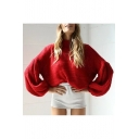 Hot Fashion Lantern Long Sleeve Loose Oversize High Neck Plain Sweater