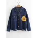 Cartoon Letter Patched Lapel Collar Long Sleeve Single Breasted Denim Jacket