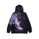 Fashion Digital Galaxy Pattern Long Sleeve Loose Leisure Unisex Hoodie