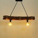 Industrial Island Light in Open Bulb Style with Bamboo and Rope Fixture