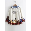 Lovely Cartoon Cat Letter Pattern Hooded Long Sleeve Loose Cape Coat