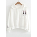 Cute Rabbit Embroidered Pocket Casual Loose Leisure Long Sleeve Cotton Hoodie