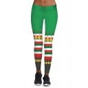 New Stylish Christmas Jingle Bell Pattern Elastic Waist Skinny Leggings