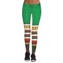 New Stylish Christmas Jingle Bell Pattern Elastic Waist Skinny Leggings