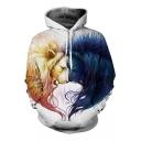 New Arrival Fashion Digital Lion Pattern Long Sleeve Sports Hoodie