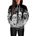 New Arrival Fashion 3D Graffiti Skull Pattern Long Sleeve Unisex Hoodie
