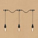 Industrial Retro Multi Light Pendant Light 3 Light Pipe Fixture Body Simple Design in Black