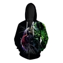 New Fashion Digital Color Block Animal Printed Long Sleeve Zip Up Unisex Hoodie