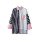 Color Block Striped Printed Long Sleeve Lapel Collar Shirt with One Pocket