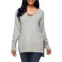 Crisscross V Neck Long Sleeve Basic Simple Plain Dipped Hem Sweater