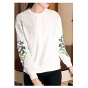 Fashion Floral Embroidered Long Sleeve Round Neck Pullover Sweatshirt
