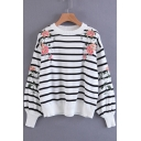 Color Block Floral Embroidered Round Neck Striped Long Sleeve Sweater