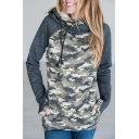 Color Block Fashion Camouflage Pattern Long Sleeve Sports Casual Hoodie