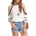 Summer's New Collection Round Neck Cold Shoulder Color Block Chiffon Blouse