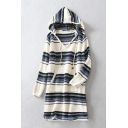 Classic Striped Pattern Long Sleeve Hooded Midi Shift Knit Dress